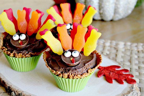 thanksgiving kids turkey cupcakes