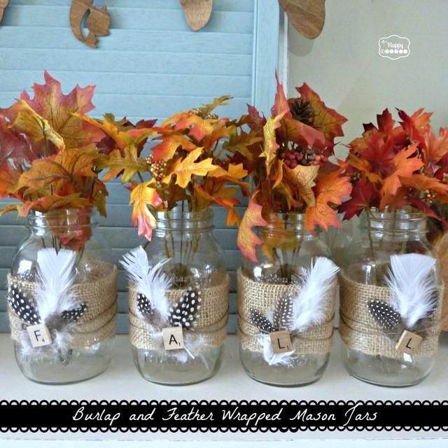 burlap feather mason jars