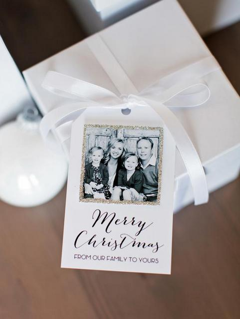 glittered photo holiday tag