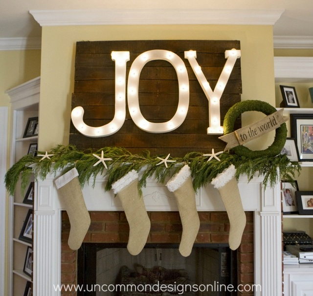 joy Christmas mantel