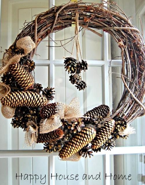 pine burlap wreath