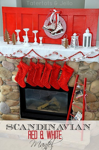 scandinavian red and white mantel