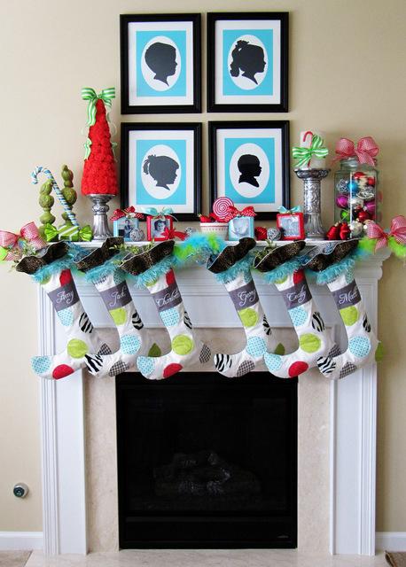 whimsical Christmas mantel