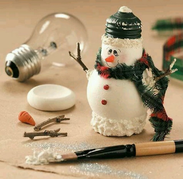 DIY snowman painted bulb