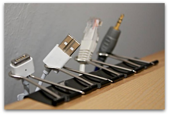 binder clip cable organizer