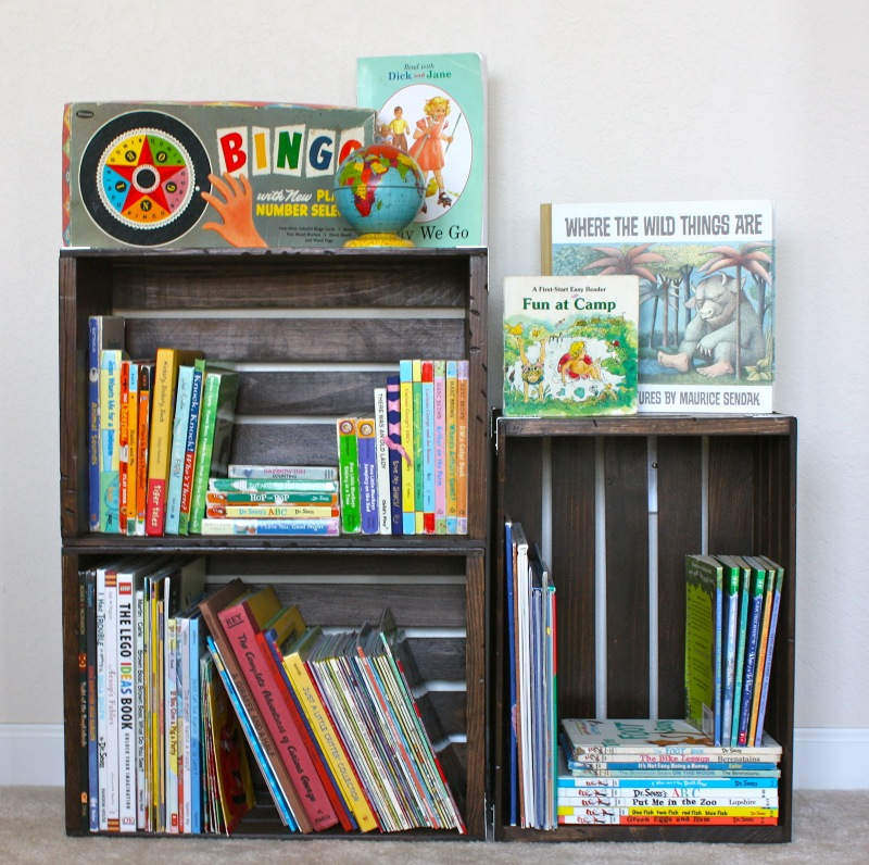 DIY crate books storage solution