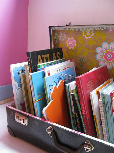 organize books in an old suitcase