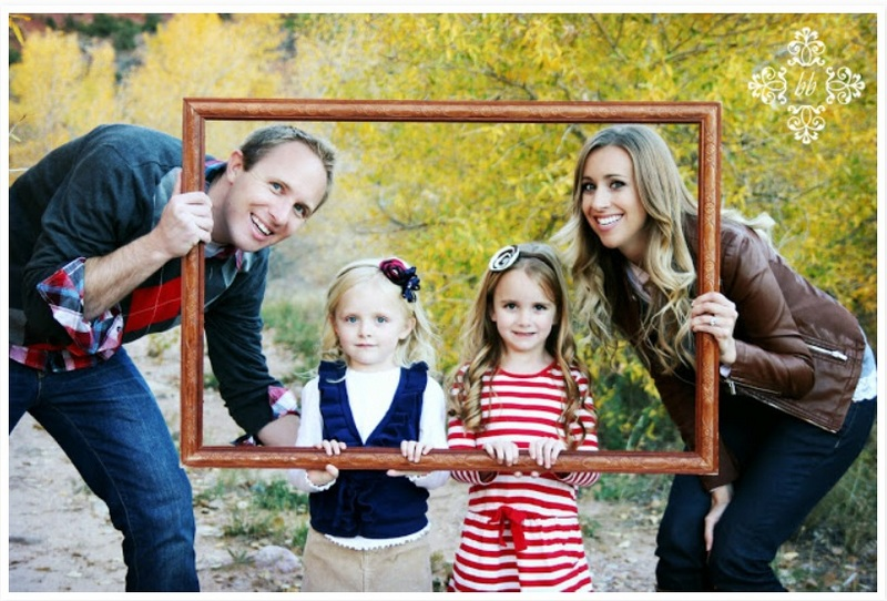 Family photo using frame