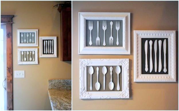 framed plastic spoons