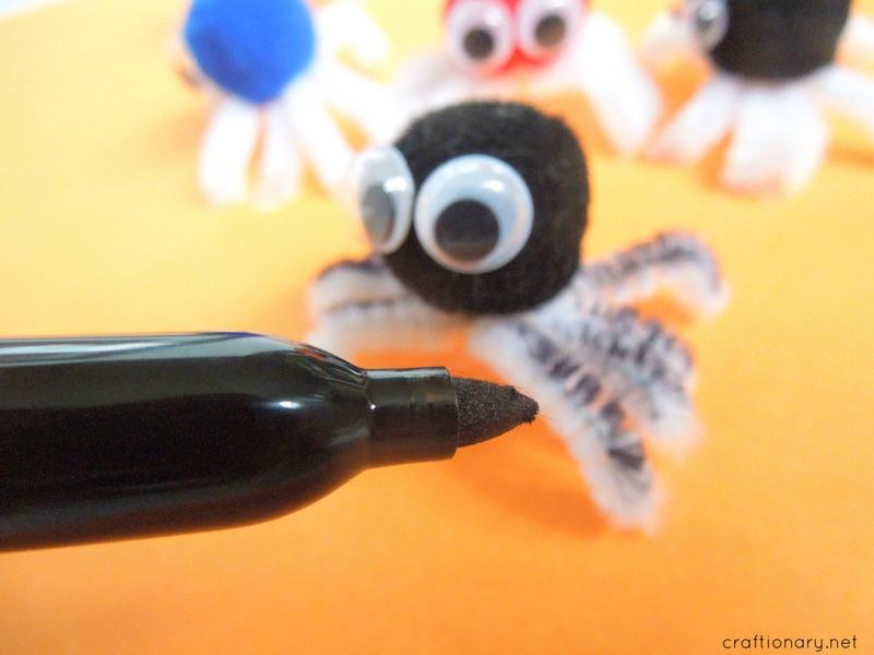 pom pom spiders sharpie legs