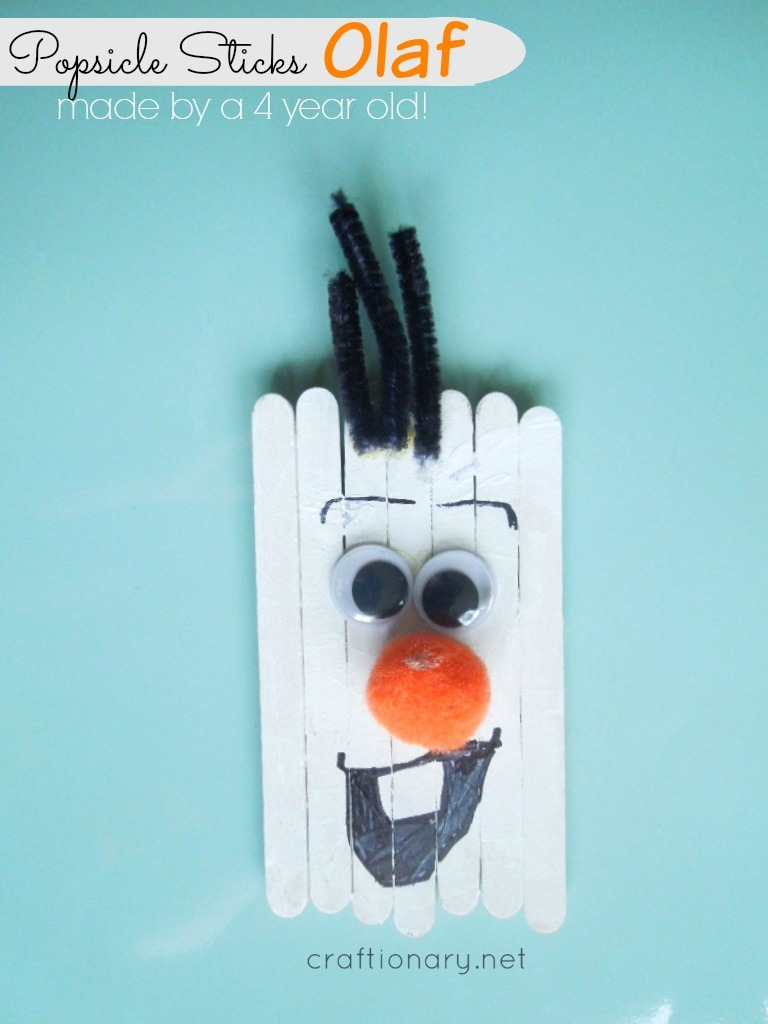 popsicle sticks olaf kids snowman