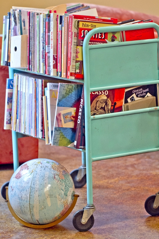 organize books on vintage cart