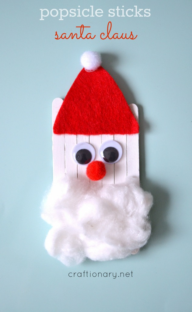 Popsicle sticks Santa #Christmas at craftionary.net