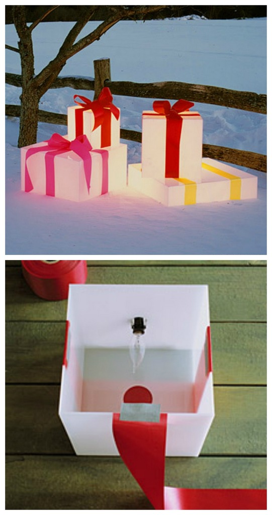 Decorating with lights - glowing gift boxes