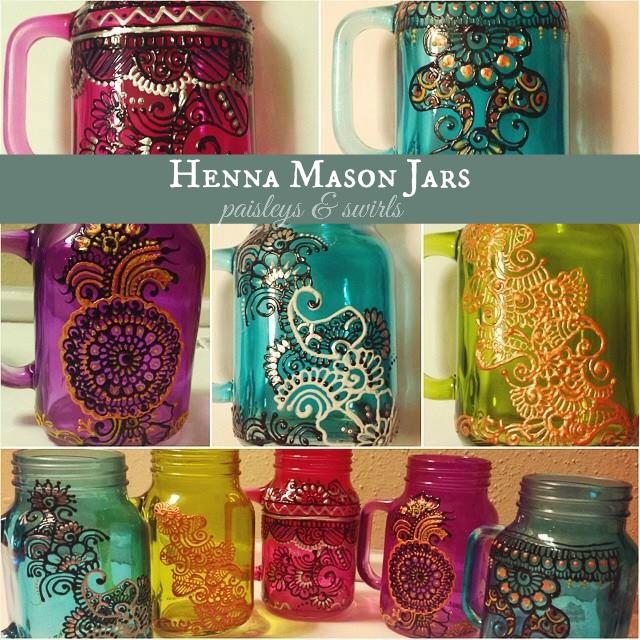 Handmade tinted henna mason jars