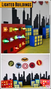 DIY lighted buildings for superhero birthday party