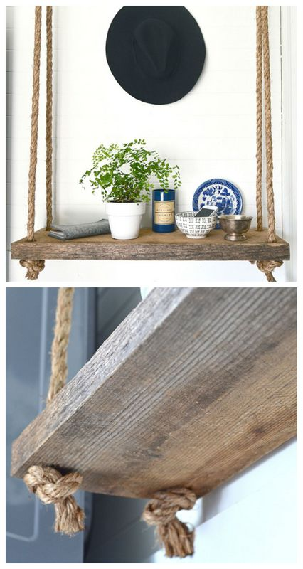 DIY hanging rope shelf