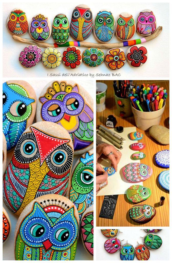 DIY-painted-owl-rock-painting