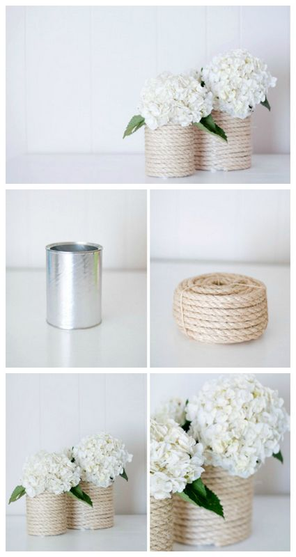 rope tin can vase