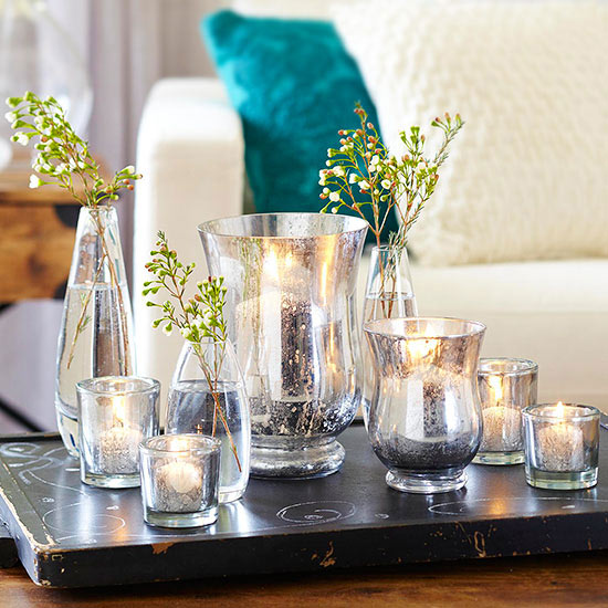 DIY faux mercury glass vases