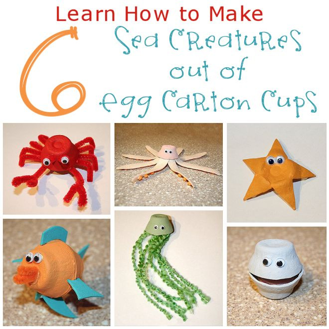 Sea Creatures out of Egg Carton Cups