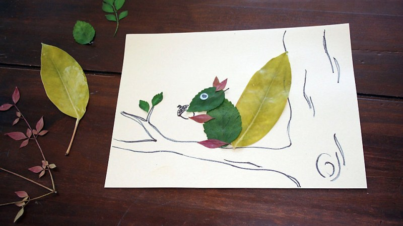 leafy squirrel craft