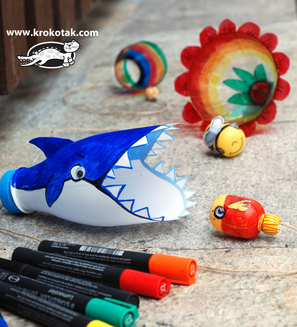 plastic bottle shark game