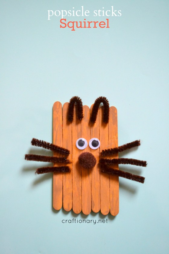 Popsicle sticks squirrel
