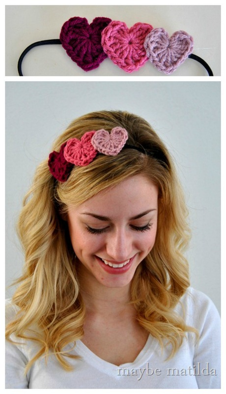 Crochet heart headband hairstyle