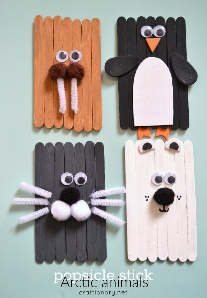 Popsicle sticks arctic animals