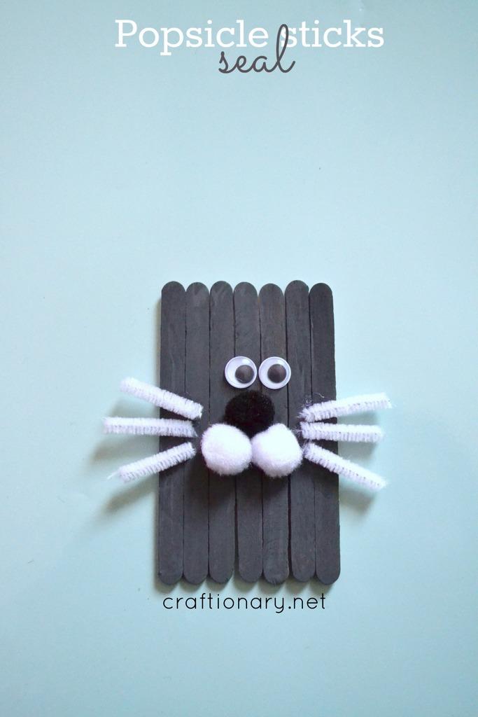 Popsicle sticks seal craft