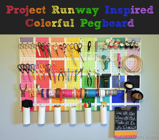 rainbow pegboard project runway