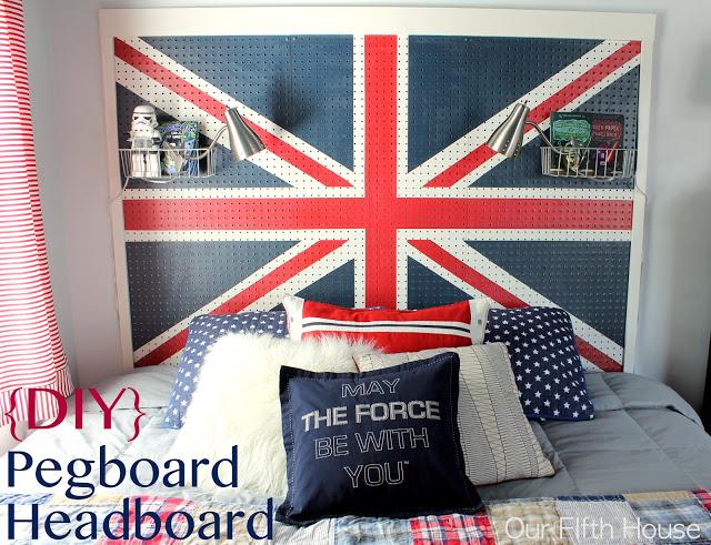 DIY pegboard Headboard
