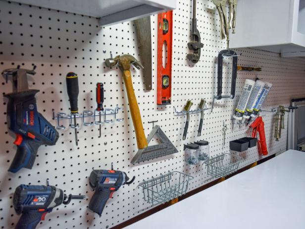 pegboard gerage storage DIY