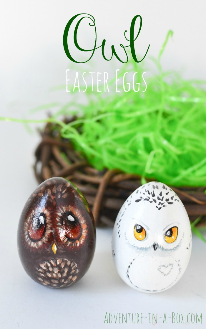 owl painted easter eggs