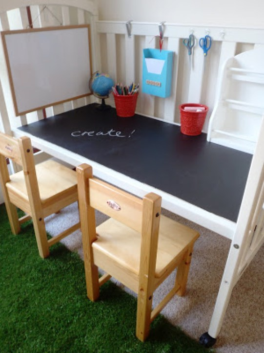 baby crib turned homework station