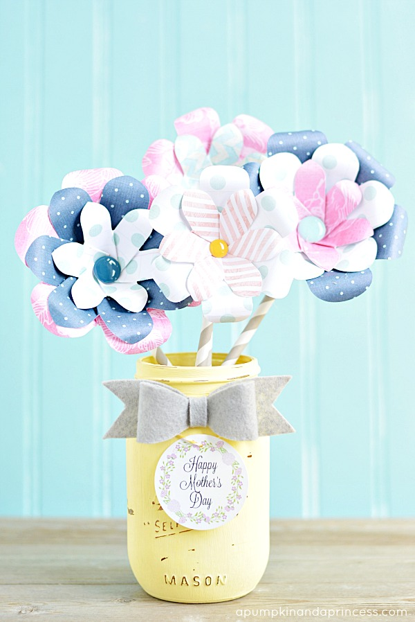 paper flower mason jar vase Mothers day gifts