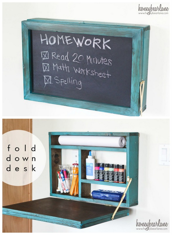Fold down homework desk