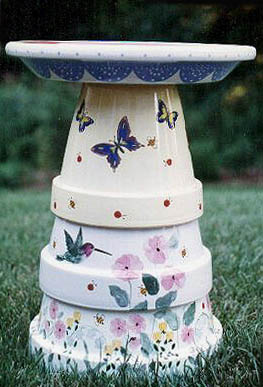 terra cotta bird bath