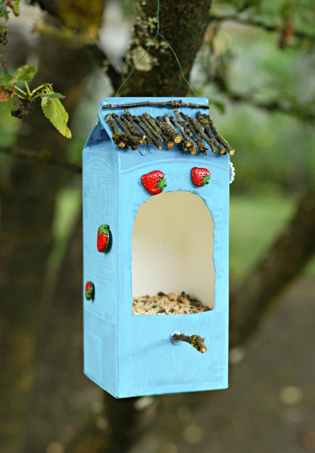 kid-made-bird-feeder-recycled-materials