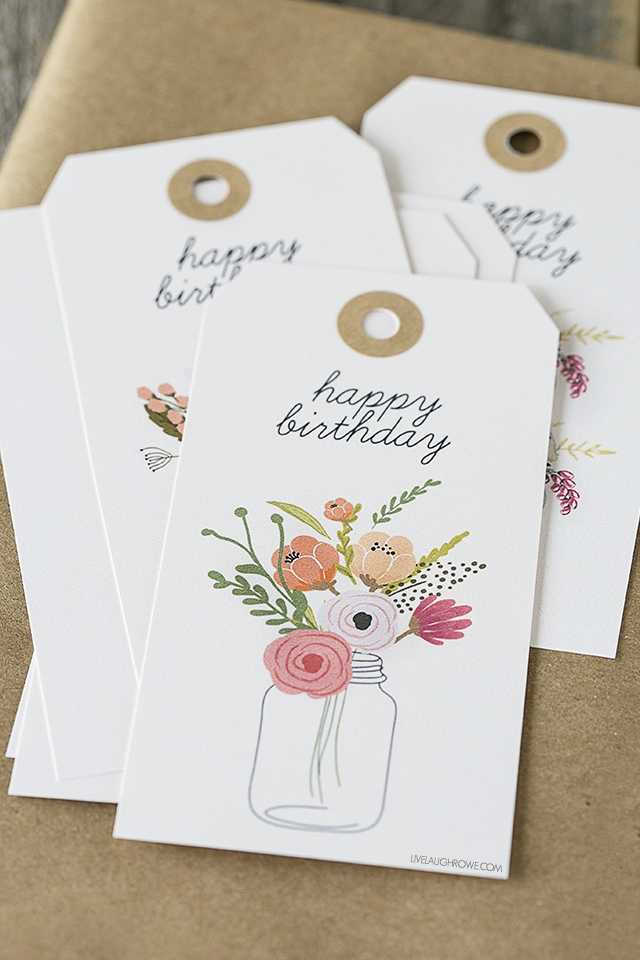 Printable Birthday Gift Tags with a floral design
