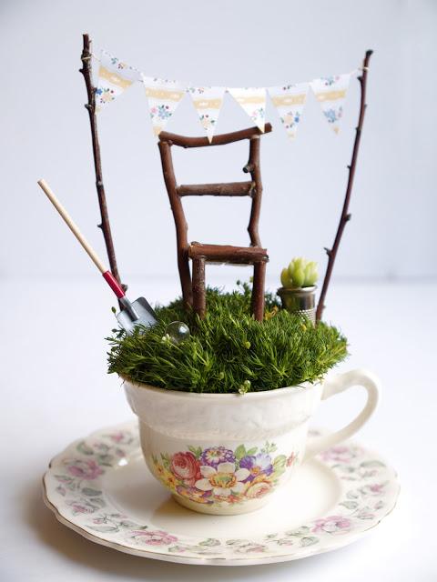 tea cup fairy garden