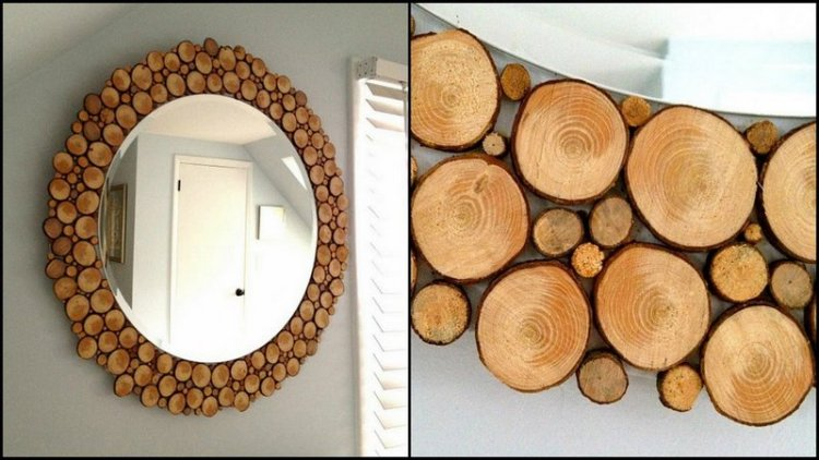 wood slice mirror diy