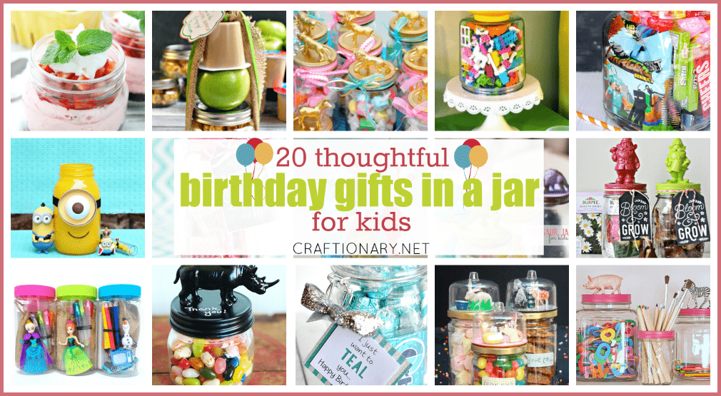 Birthday gifts in a jar