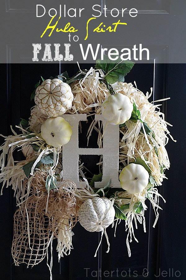 dollar store hula skirt to fall wreath