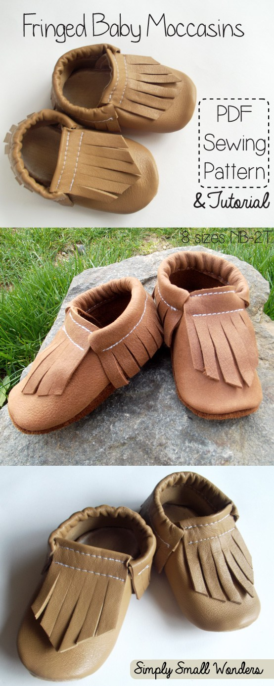 make baby shoes with fabric and leather