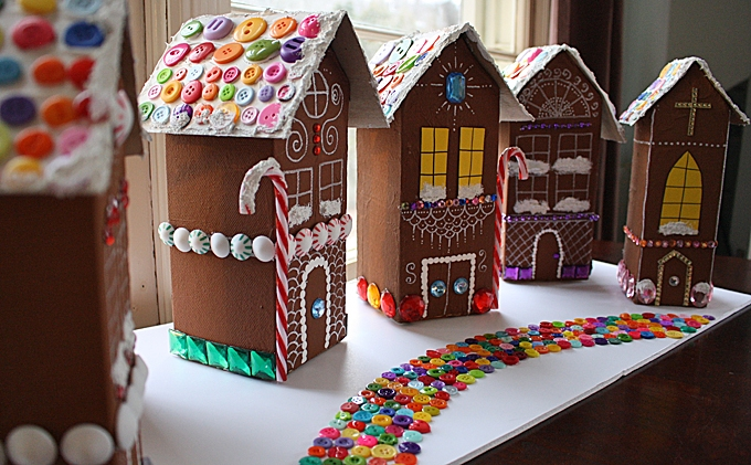 recycled village of ginger bread house