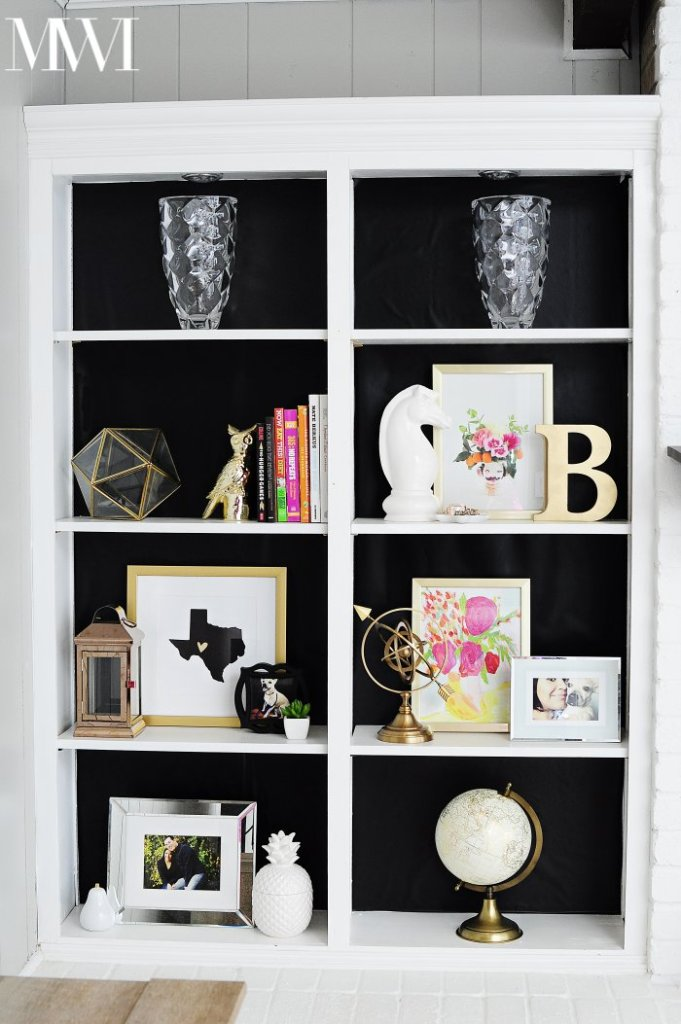 Black baked bookcase DIY decor Styling bookshelves and bookcases