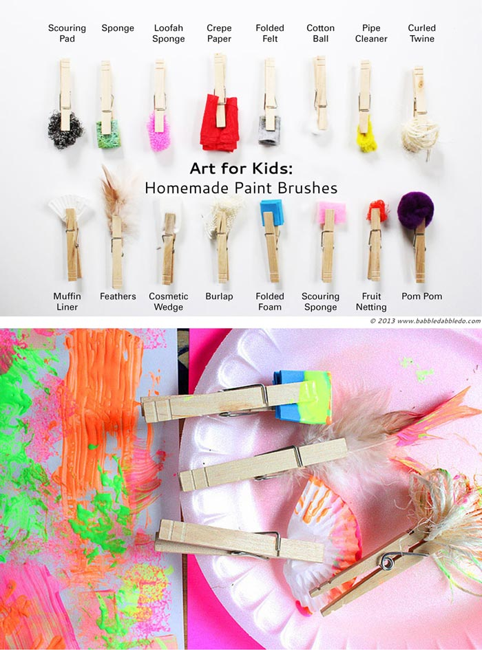 Homemade paint brushes using different craft materials