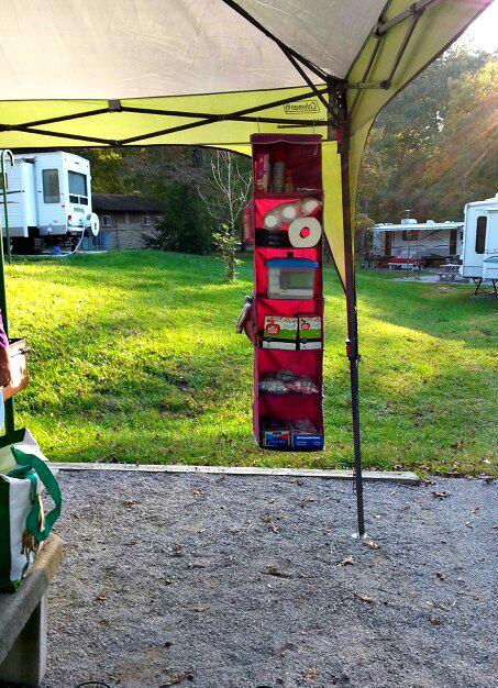 organized camping shoe hanger